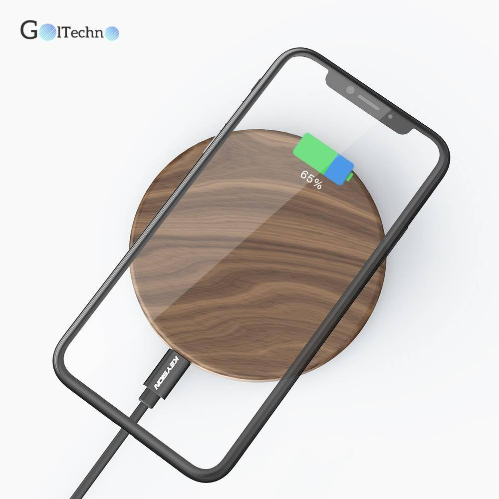 Universal Wooden Qi Wireless Charger for Phone - GolTechno
